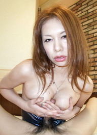 Hiromi Asian with big boobs licks hard boner and gets vibrator
