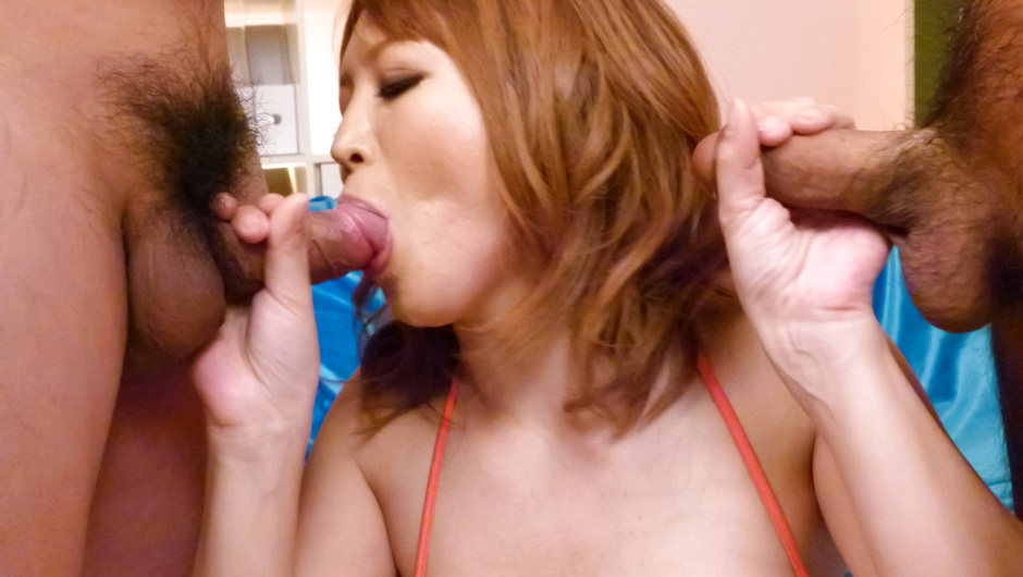 Stacked MILF Yuki Touma gives them a japan blow job