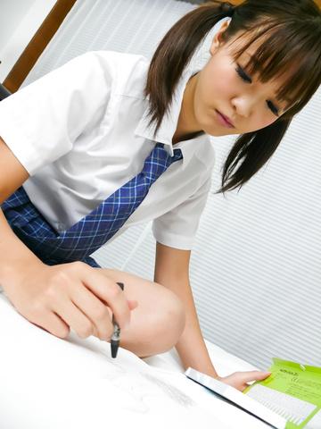 Momoka Rin - Horny teen Momoka Rin gives a japan blowjob - Picture 1