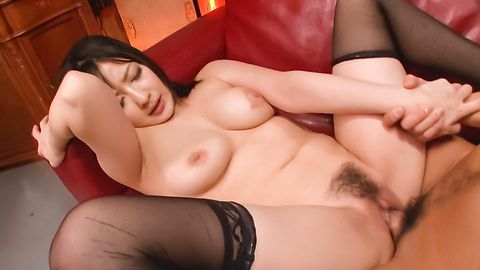 Megumi Haruka gives an asian blowjob and is fucked in stockings