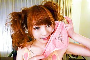 A big asian dildo stuffs Maomi Nagasawa's snatch