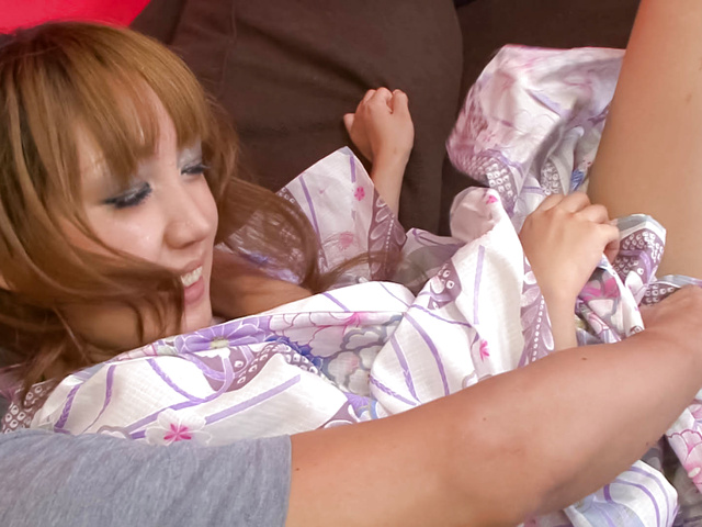 Yuki Mizuho - Lovely babe Yuki Mizuho teasing in her kimono, fondled and fucked - Picture 1