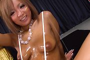 Riku Hinano - Oiled up blond pervert with big firm boobies getting naked and fondling her eager pussy - Picture 9