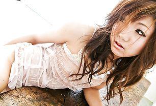 Soapy masturbating session for Mahiru Tsubaki in sexy dress