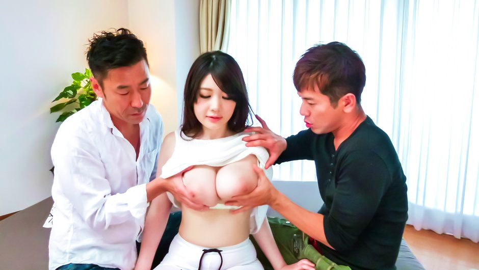 Phim Sex Stacked Rie Tachikawa gets an asian creampie from two guys