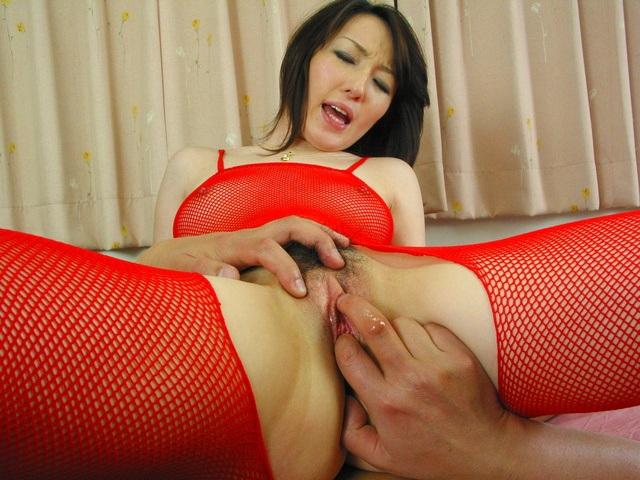 Anno Kiriya - Anno Kiriya in sexy red fishnet costume fucked well - Picture 10