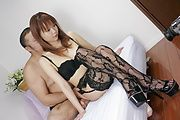 Himena Ebihara - In black lingerie and stockings Himena Ebihara goes for cock - Picture 6