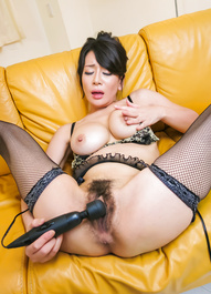 Rei Kitajima busty in fishnets gets cum from sucked joysticks