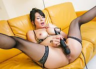 Rei Kitajima in fishnets arouses with vibrator and gets cum
