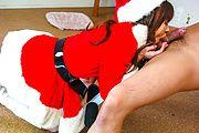 Anna Watase - Anna Watase as horny Santa give a lucky man a blowjob - Picture 6