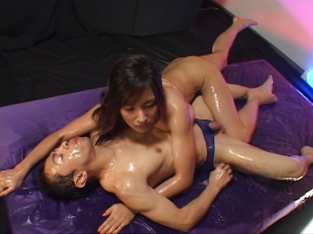Oil covered Mecumi is rear fucked and left with a creampie