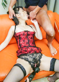 Ayumi Iwasa is aroused over crotchless and gets cum in mouth