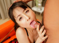 Ayumi Iwasa Asian gets dildo through crotchless and licks dick