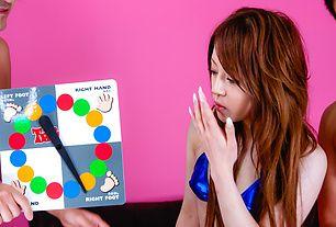 Threesome with Ria Sakurai in a dirty twister game