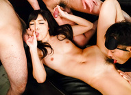 Megumi Shino sucks cock after cock while is licked on poonanie