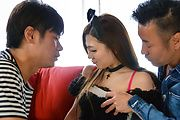 Maki Horiguchi - Asian threesome along cock sucking Maki Horiguchi - Picture 1