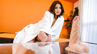 Tsubasa Aihara puts dildo in hairy crack