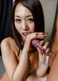 An Yabuki Asian has naughty tits out of bra while sucking penis