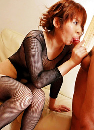 Reina Sakai Asian in fishnet outfit licks and sucks hard woody
