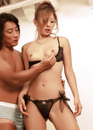 Erena Kurosawa Asian has labia spread and vibrator on nasty slit