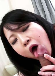 Yuu Sakura Asian busty licks hard dong and gets vibrator on crack
