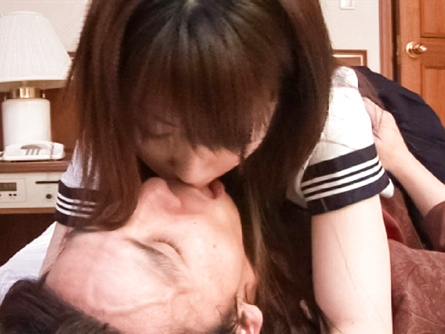 Megumi - Sexy Megumi in uniform has hairy cunt eaten - Picture 2