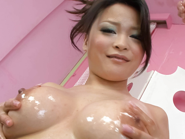 Yuu Haruka - Oiled up busty babe cock sucking and hardcore fucked - Picture 1