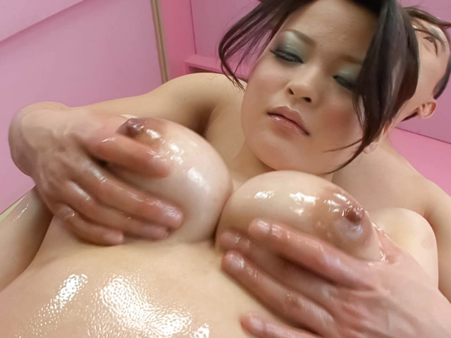 Yuu Haruka - Oiled up busty babe cock sucking and hardcore fucked - Picture 4