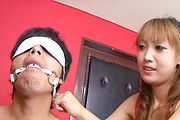 Yuki Mizuho - Nasty redhead chick making out and gagging her boyfriends throbbing cock - Picture 3