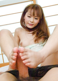 Anri Sonozaki Asian rubs dong with feet, sucks it and licks it
