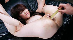 Her legs spread, Megumi Moritas holes get cum covered