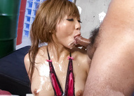 Hazuki Rui Asian with oiled chest has cum on chin from blowjob