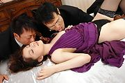 Rika Koizumi - Rina Koizumi in sexy stockings fucking three man with blowjobs - Picture 3