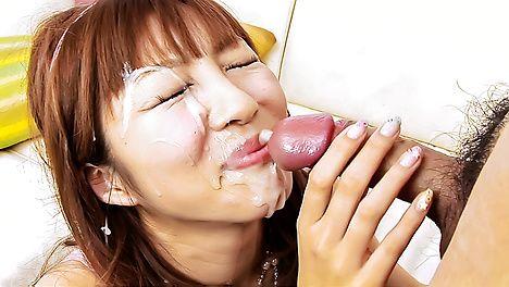 Cute little chick Rika Sakurai gets a load of cum on face