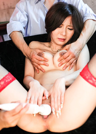 AYAMI Asian with playful cans sucks dicks and gets vibrator