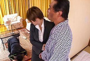 Meguru Kosaka is fucked while sucks cock