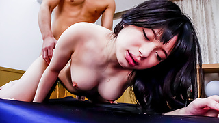 Two Older Guys Pound Hina Maeda's Shaved Pussy