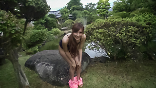 Reira Aisaki naughty play on her young Asian pussy