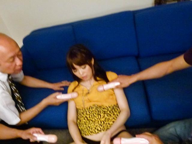 Moe Sakura - Moe Sakura gives guys a japan blowjob while masturbating - Picture 12