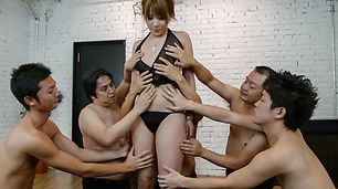 Gang bang with a japanese dildo and Rinka Aiuchi  [JavHD Tube Video]