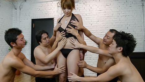Gang bang with a japanese dildo and Rinka Aiuchi