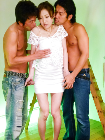 Yura Kasumi - Two guys get an asian girls blowjob and fuck Yura Kasumi - Picture 9