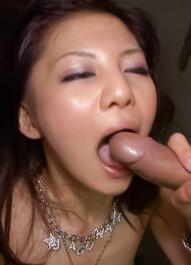 Hikaru Aoyama Asian gets dildos and cum after sucking hard tool