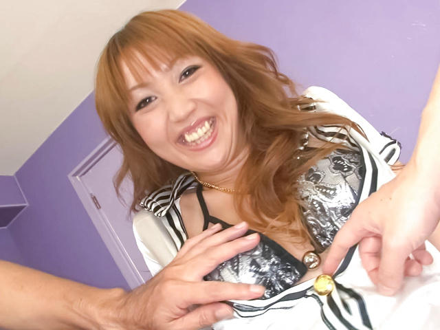 Yuki Mizuho - Pretty and horny redhead Asian babe Yuki Mizuho getting her pussy fondled with various sex toys - Picture 1