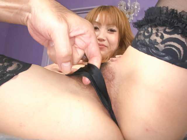 Yuki Mizuho - Pretty and horny redhead Asian babe Yuki Mizuho getting her pussy fondled with various sex toys - Picture 6