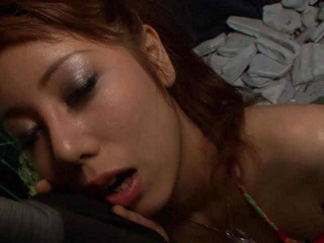 Rui Shiina - Nasty redhead Asian babe Rui Shiina giving blowjob and hard fucked - Picture 2