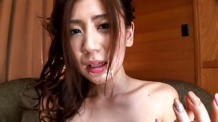 Girl in red panties endures Asian cum shot on face