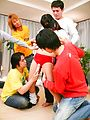 Ryo Asaka - Schoolgirl Ryo Asaka has fun with an asian blow job for a group - Picture 4