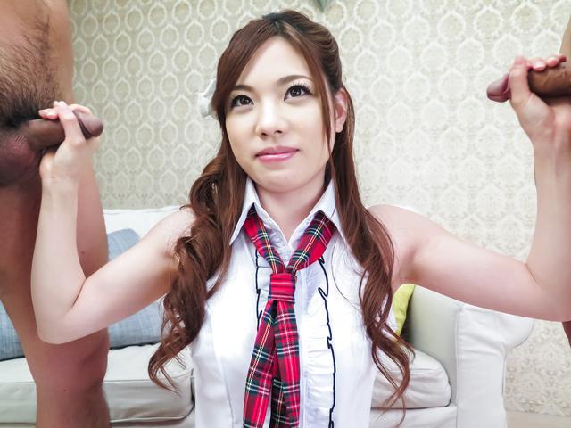 Emi Sasaki - Asian blowjob in threesom by hot Emi Sasaki - Picture 1