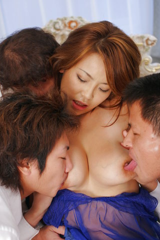 Rui Horie - Three cocks fuck Rui Horie deep and hard with double action - Picture 7